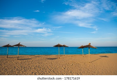 Mediterranean beach with sunroof in Valencia province of spain