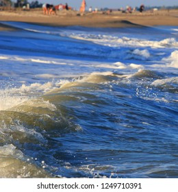 Mediterranean beach and waves in Pyrenees orientales, Roussillon region of France