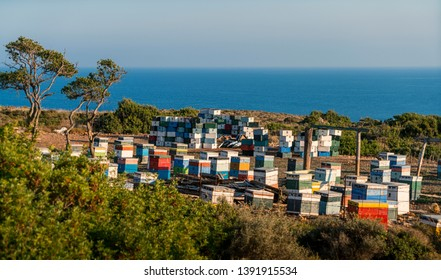 mediterranean beehives in front of the ocean, Kefalonia Greece