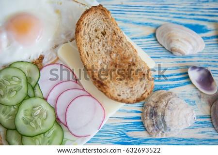 Mediterranean Breakfast Fried Eggs Bread Fresh Stock Photo