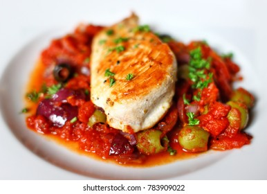Mediterranean Chicken Breast Baked in Tomato Sauces with Kalamata and Green Olives