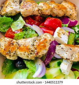 Mediterranean Chicken Kebab Salad with Kabob Meat and Greek Style Greens Lettuce Tomato Feta Cheese
