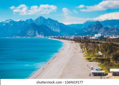 Mediterranean coast. Beach in Antalya. Holidays in Turkey. Tilt-Shift Effect