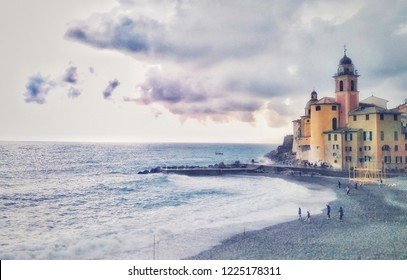 Mediterranean coast in Camogli (Liguria, Italy) in a rainy day