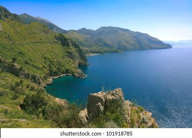 Mediterranean coast of Golfo di Policastro in springtime, Basilicata, Italy