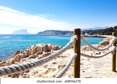 Mediterranean coast just to go for a walk listening the waves and feeling the sun. Photo taken from Moraira walkway
