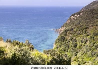 Mediterranean coast near Bagnaia, Elba island, Elba, island, Italy, Europe