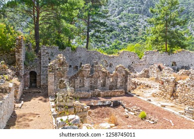 The Mediterranean coast ruins of Olympos Ancient has a marvelous collection of ancient ruins dotted along its jagged coastline in Kumluca. Antalya-Turkiye