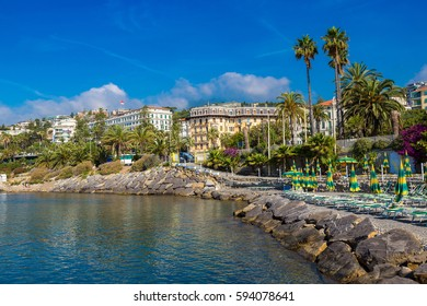 Mediterranean coast in San Remo in a beautiful summer day, Italy