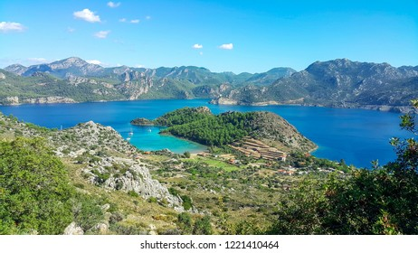 Mediterranean coast of Selimiye bay on Bozburun peninsula near Marmaris resort town in Turkey.