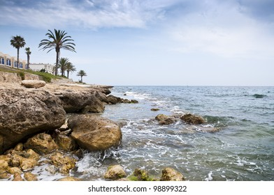 Mediterranean coastline at Santa Pola town, Alicante, Spain. It is a coastal town located in the comarca of Baix Vinalopo, in the Valencian Community, Alicante, Spain, by the Mediterranean Sea.
