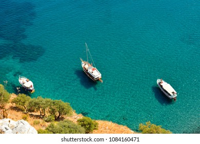 Mediterranean coastline in Turkey, with yachts.
