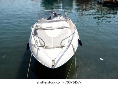 Mediterranean Croatian motorboat(s) lying at a dreamy beach in Croatia.