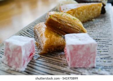 Mediterranean desserts Turkish delight,buklava, cakes and ice cream