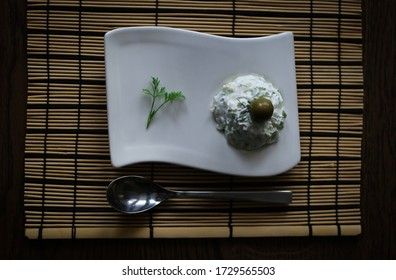 Mediterranean dill salad on a wooden table