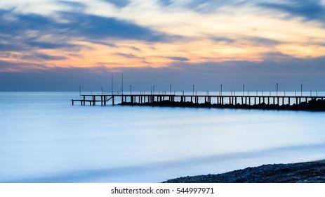 Mediterranean Dusk.  A long exposure of dusk over the Mediterranean Sea viewed from the southern Turkish coastline near Turkler.