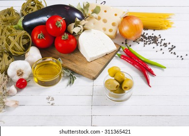 mediterranean food ingredients on white wood table