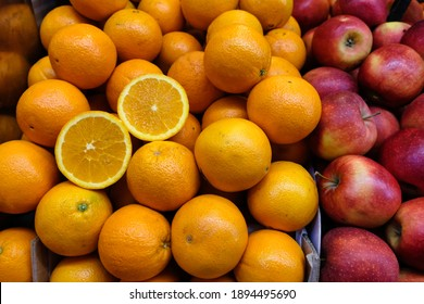 Mediterranean Fruits like oranges and apples in a fruit market in Spain