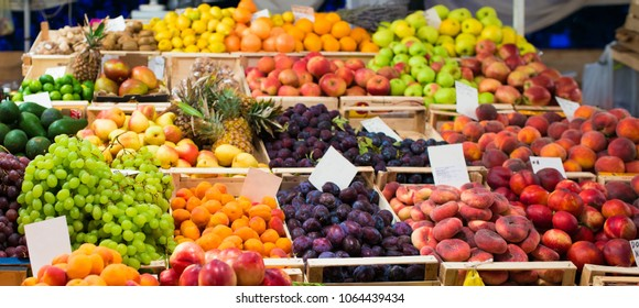 Mediterranean fruits and vegetables on market stall