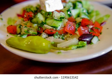 Mediterranean Greek salad with kalamata olives feta cheese and pepperoncini