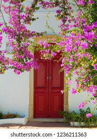 mediterranean home entrance with blooming pink bougainvillea with vintage front door in the background