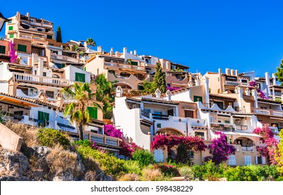 Mediterranean houses at the idyllic small town of Cala Fornells on Majorca island, Spain Mediterranean Sea, Balearic Islands.