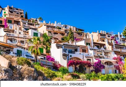 Mediterranean houses at the idyllic small town of Cala Fornells on Majorca island, Spain Mediterranean Sea, Balearic Islands.