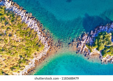 Mediterranean island stone shape aerial view, Zadar archipelago of Croatia