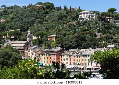 Mediterranean Italian city on the green hill