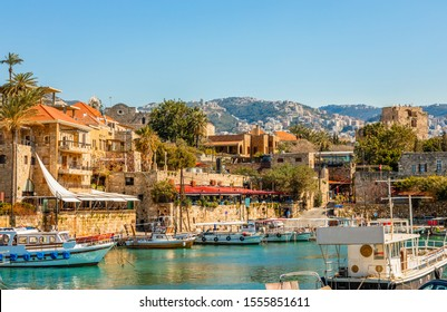 Mediterranean Jbeil port lagoon with anchored fishing boats, Biblos, Lebanon