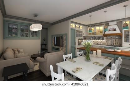 Mediterranean Kitchen In  Small Apartment 3d rendering