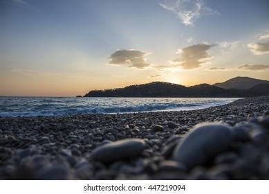 Mediterranean landscape, the beach at sunset