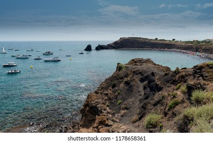 Mediterranean landscape in Cap d'Agde, languedoc-Roussillon, french riviera,  France
