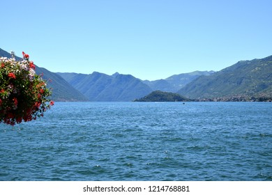 Mediterranean landscape in Italy, Lake Lecco and rocky mountains
