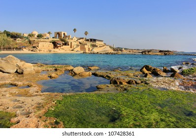 Mediterranean landscape, national park Achziv, view of the ruins of the old Turkish fortress, Israel