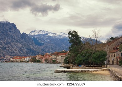 Mediterranean landscape on cloudy winter day. Montenegro,  Adriatic Sea, Bay of Kotor, Prcanj town