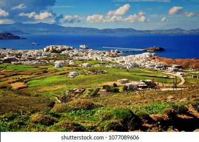 Mediterranean landscape, top view of Naxos island, Greece