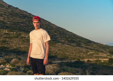 mediterranean mountain landscape with portrait of a young man