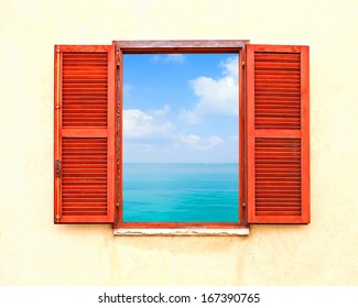 Mediterranean open window with shutters and sea panoramic view