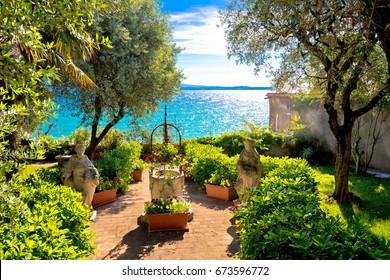 Mediterranean park on Lago di Garda view, Sirmione, Veneto region of Italy