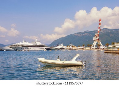Mediterranean port. Montenegro, Bay of Kotor (Adriatic Sea), Tivat,  view of yacht marina of Porto Montenegro