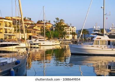 Mediterranean port. Montenegro, view of Porto Montenegro in Tivat city - full service yacht marina in the Adriatic