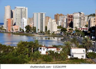 Mediterranean Resort Calpe, Spain with lagoon Las Salinas and Hotel Buildings
