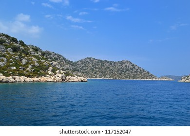 Mediterranean rocky islands near Turkish coastline on neighborhood of Kekova