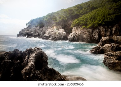 Mediterranean rocky shores and landscape - Odysseus cave on island Mljet near Dubrovnik, tourist attraction, Croatia