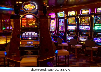 MEDITERRANEAN SEA - APR 13, 2018 - Slot machines of the casino on a cruise ship in the Mediterranean Sea