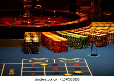 MEDITERRANEAN SEA - APR 13, 2018 - Roulette table in the casino on a cruise ship in the Mediterranean Sea