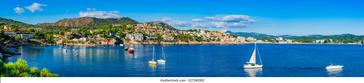 Mediterranean Sea bay coast of Cala Fornells, Spain Majorca Mallorca Panorama.