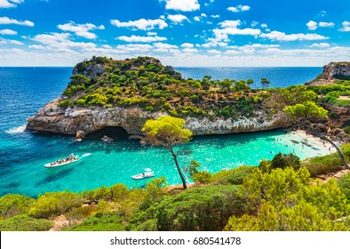 Mediterranean Sea beach at Majorca island, stunning seaside scenery of Cala Moro cove, Spain Balearic Islands.
