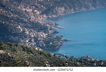Mediterranean Sea: Beautiful aerial view of Camogli and Ligurian coast